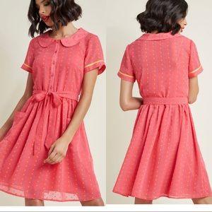 ModCloth Darling heart Dots Shirt Dress in Punch